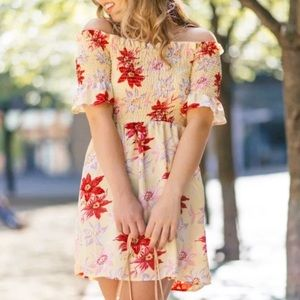 Topshop Off Shoulder Lemon Floral Bardot Dress
